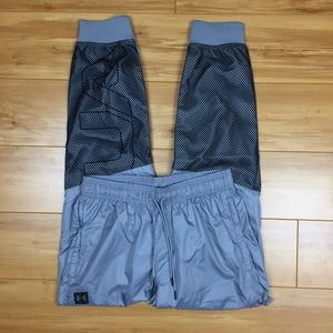Under Armour Gray/Black Mesh Lined Wind Joggers